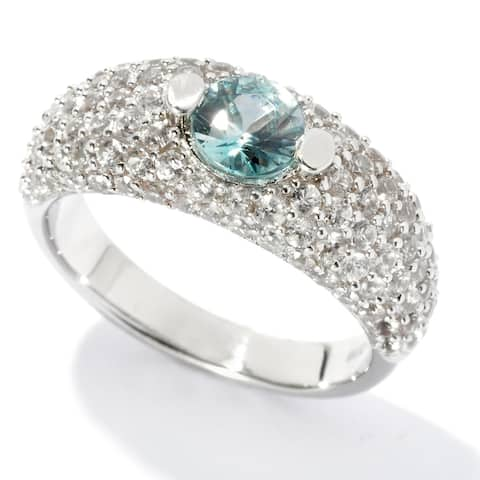 Sterling Silver Brown Zircon Solitaire w/ accent Ring