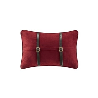 Woolrich Ryland Red Microsuede Oblong Pillow Red