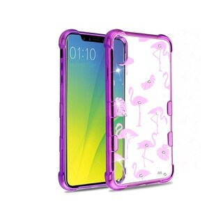 Insten Clear/Purple uff Klarity Flamingo PC/TPU Rubber Case Cover for Apple iPhone XS Max