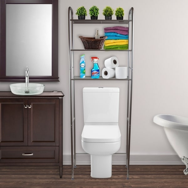 Hermosa Home 3 Tier Steel Over the Toilet Space Saver Storage Shelving Unit - Satin Nickel