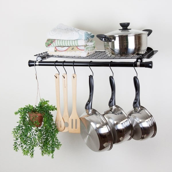 Hermosa Home Decorative Steel Single Shelf Organizer with Hanger - Black