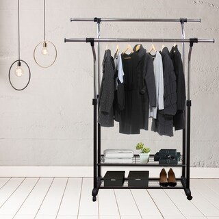 Hermosa Home Decorative Mobile Double Rail Clothes Rack with Utility Shelves