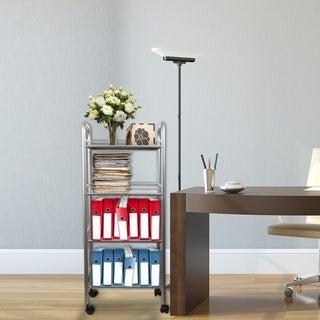 Hermosa Home 4 Tier Steel Decorative Rolling Storage Cart - Satin Nickel
