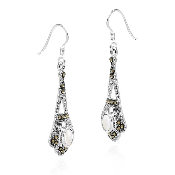 Natural Oval Shell Pearl /& Marcasite 925 sterling silver dangle Earring
