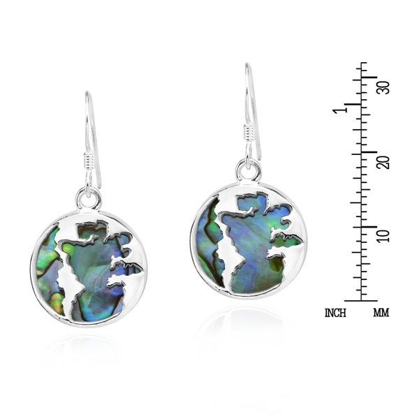 Stunning Seashell w// Inlaid Abalone Shell Sterling Silver Dangle Earrings