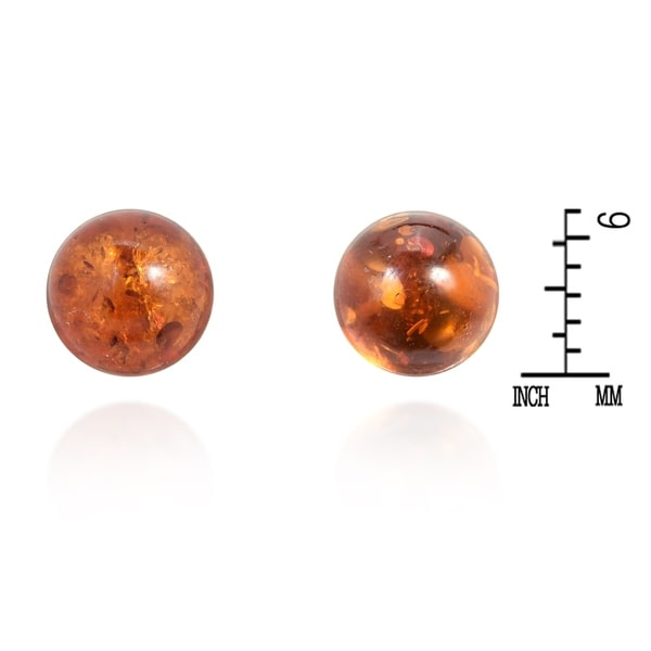 Handmade Glowing Round Simulated Amber Sterling Silver 6mm Stud Earrings (Thailand)