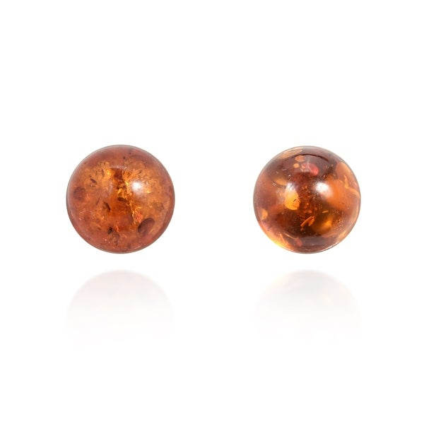 Handmade Glowing Round Simulated Amber Sterling Silver 6mm Stud Earrings (Thailand). Opens flyout.