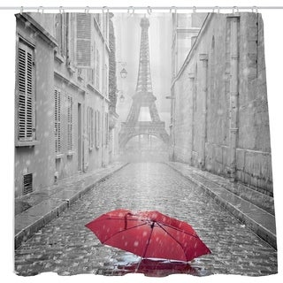 Paris Eiffel Tower Red Umbrella Shower Curtain