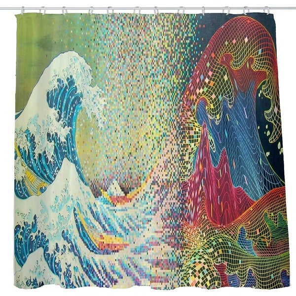 Trippy Abstract Japan Art Wave Shower Curtain