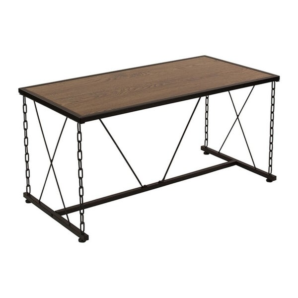 Offex Vernon Hills Collection Antique Wood Grain Finish Coffee Table with Chain Accent Metal Frame