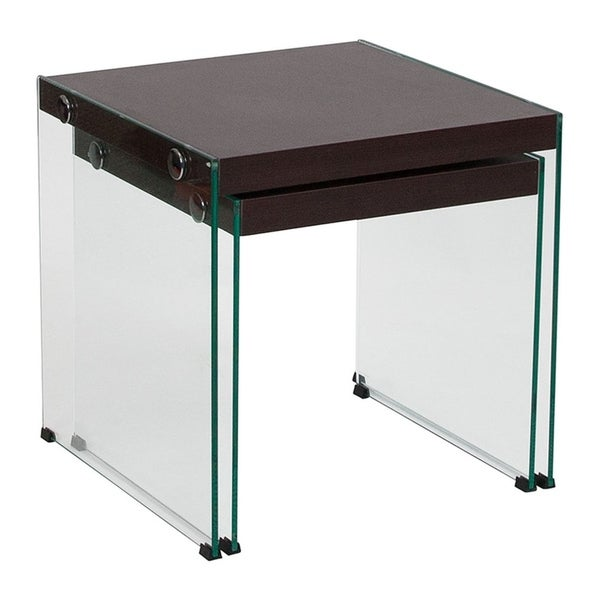 Offex Wynwood Collection Contemporary Dark Ash Wood Grain Finish Nesting Tables with Glass Frame
