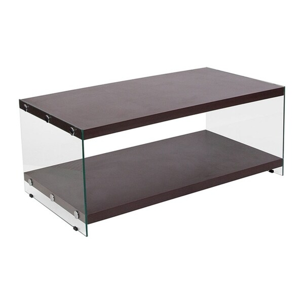 Offex Wynwood Collection Dark Ash Wood Grain Finish Coffee Table with Glass Frame and Shelves