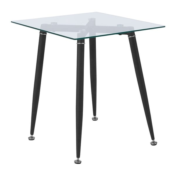 Offex Chestnut Hill Collection Contemporary Glass End Table with Sleek Matte Black Metal Legs