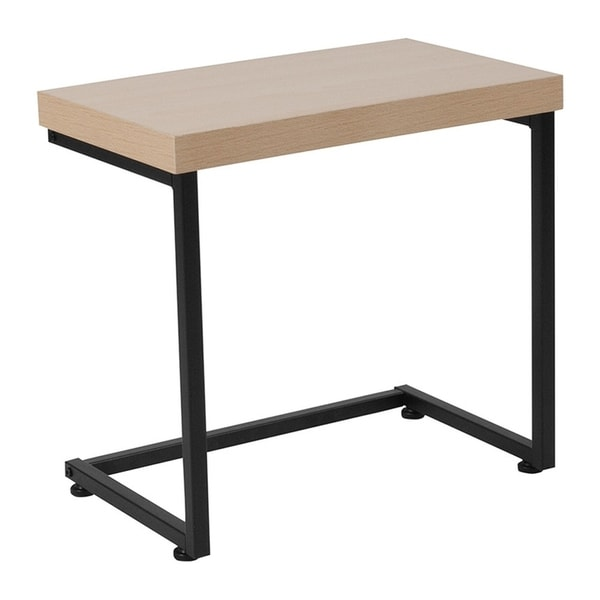 Offex Hyde Square Collection Beech Wood Grain Finish Side Table with Black Metal Legs