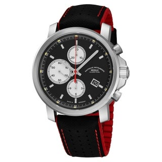 Mühle Glashutte Men's M1-25-43-NB '29er Chronograph' Black Dial Black/Red Strap Date Automatic Watch
