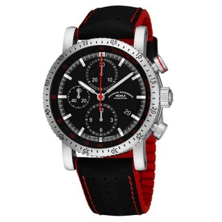 Mühle Glashutte Men's M1-29-63-NB 'Teutonia Sport I' Black Dial Black/Red Strap Chronograph Date Automatic Watch