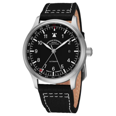 Mühle Glashutte Men's M1-37-94-LB 'Terra Sport IV' Black Dial Black Leather Strap GMT Automatic Watch