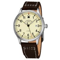 Mühle Glashutte Men's M1-37-47-LB 'TerraSport II' Cream Dial Brown Leather Strap Date Automatic Watch