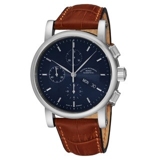 Mühle Glashutte Men's M1-30-92-LB 'Teutonia II Chronograph' Blue Dial Beige Leather Strap Day Date Automatic Watch