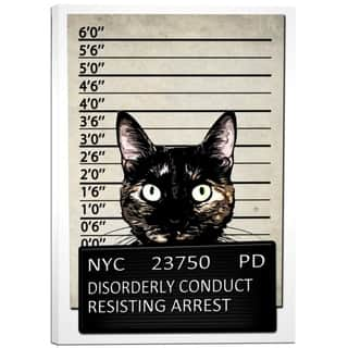 "Cortesi Home ""Kitty Mugshot"" by Nicklas Gustafsson, Giclee Canvas Wall Art, 12""x18"""