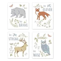 Sweet Jojo Designs Blue Grey Brown Woodland Animal Toile Collection Wall Decor Art Prints (Set of 4) - Brave Clever