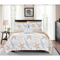 Chic Home Bastille 4 Piece Reversible Quilt Coverlet Set Embossed
