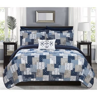 Chic Home Viona 4 Piece Reversible Quilt Coverlet Set Patchwork