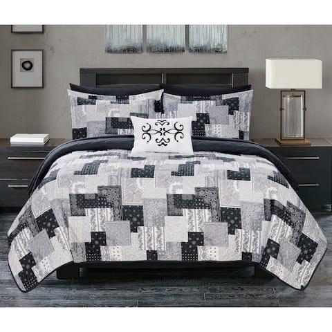 Chic Home Viona 4 Piece Reversible Quilt Coverlet Set Patchwork