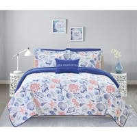 Chic Home Katriel 4 Piece Reversible Quilt Coverlet Set Embossed