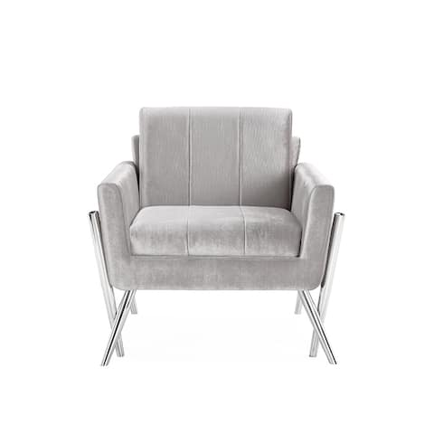 Calen Armless Upholstered Metal Accent Chair