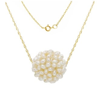 DaVonna 14k Gold White Freshwater Pearl Swivel Cluster-ball Pendant Necklace 18""