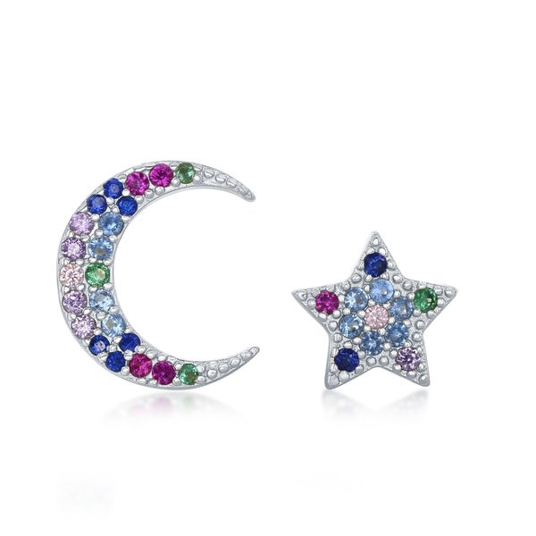 14d4437c6 La Preciosa Sterling Silver or Gold Plated Crescent Moon & Star Rainbow  CZ Stud Earrings