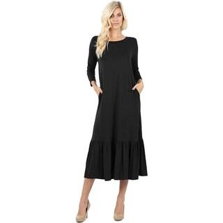 JED Women's 3/4 Sleeve Ruffled Hem Midi Dress
