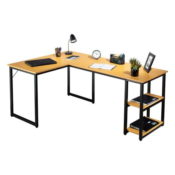 Fineboard Office Wood 2-shelf L-shape Corner Desk