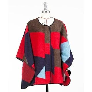 Women's Red & Blue Pattern Wool Blend Cape Coat