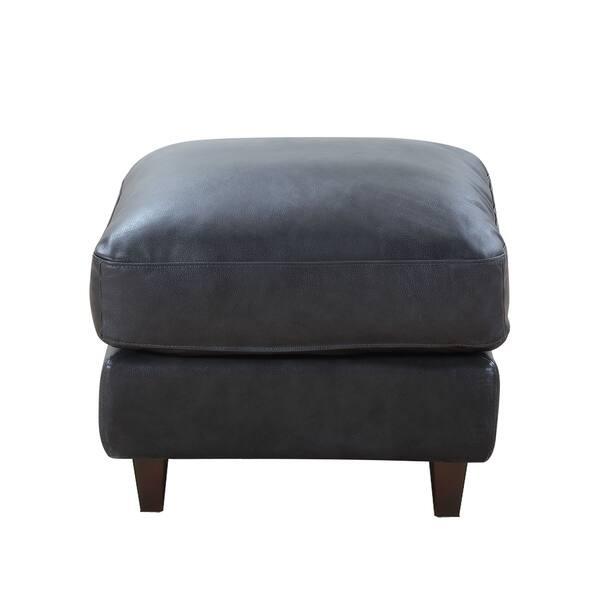 Wondrous Shop Landon Top Grain Leather Ottoman Light Grey Graphite Inzonedesignstudio Interior Chair Design Inzonedesignstudiocom