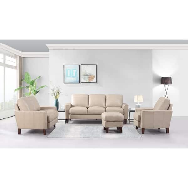 Fabulous Shop Landon Top Grain Leather Ottoman Light Grey Graphite Inzonedesignstudio Interior Chair Design Inzonedesignstudiocom