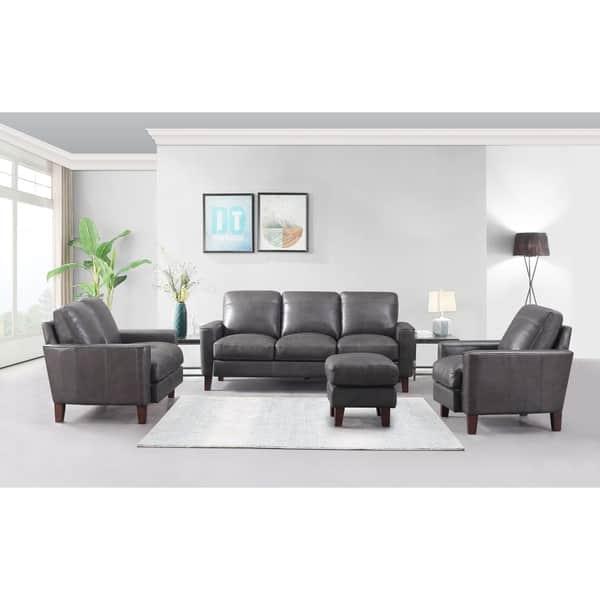 Admirable Shop Landon Top Grain Leather Ottoman Light Grey Graphite Inzonedesignstudio Interior Chair Design Inzonedesignstudiocom