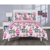 Elite Home Products 3 Piece Reversible Hippie Love Mini Comforter Set