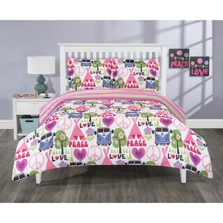 Elite Home Products 3 Piece Reversible Hippie Love Mini Comforter Set