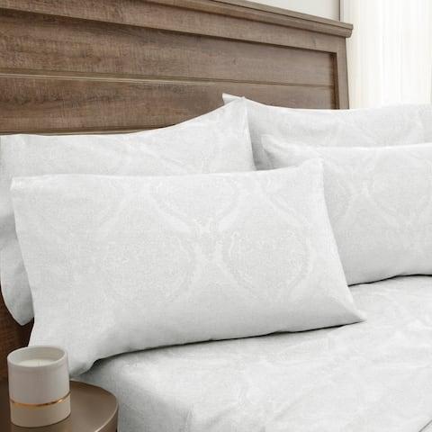 800 Thread Count Jacquard Damask White Bonus Cotton Rich Bed Sheet Set