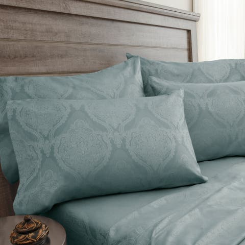 800 Thread Count Jacquard Damask Blue Haze Bonus Cotton Rich Sheet Set
