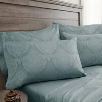 Elite Home Products 800 Thread Count Jacquard Damask Blue Haze Bonus Cotton Rich Sheet Set