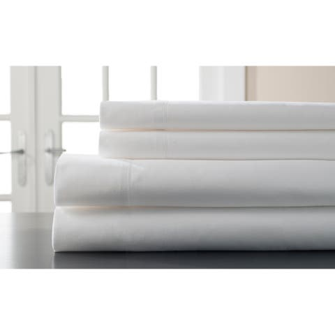 Elite Home Products 400 Thread Count Hemstitch White Solid Bed Sheet Set