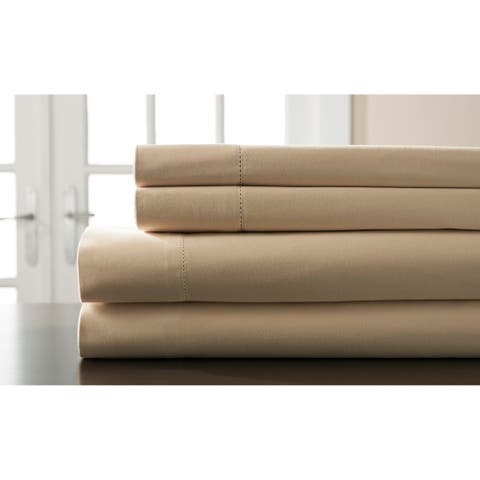 Elite Home Products 400 Thread Count Hemstitch Fawn Solid Bed Sheet Set