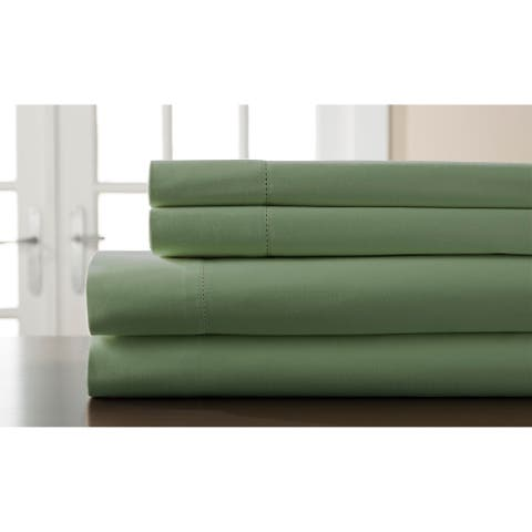 400 Thread Count Hemstitch Willow Solid Bed Sheet Set