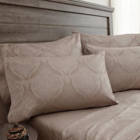 800 Thread Count Jacquard Damask Oxford Tan Bonus Cotton Rich Bed Sheet Set