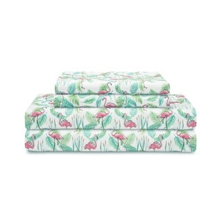 Coastal Flamingo Paradise Pink Microfiber Print Sheet Set