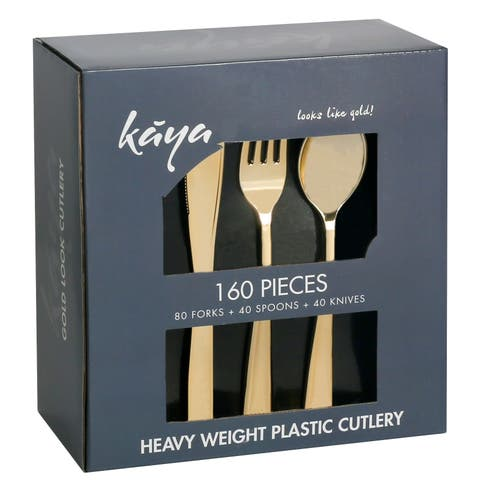 160 PC Gold Plastic Silverware Set - Disposable Gold Flatware - Set of 80 Forks, 40 Knives and 40 Spoons