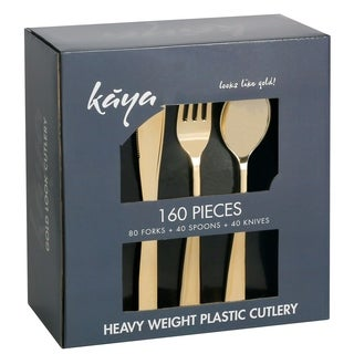 Kaya Collection 160 PC Gold Plastic Silverware Set - Disposable Gold Flatware - Set of 80 Forks, 40 Knives and 40 Spoons